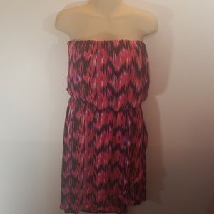 Multi-colored Abstract Print Strapless Dress